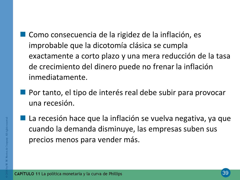 Como consecuencia de la rigidez de la inflación, es improbable que la dicotomía clásica se cumpla exactamente a corto plazo y una mera reducción de la tasa de crecimiento del dinero puede no frenar la inflación inmediatamente.