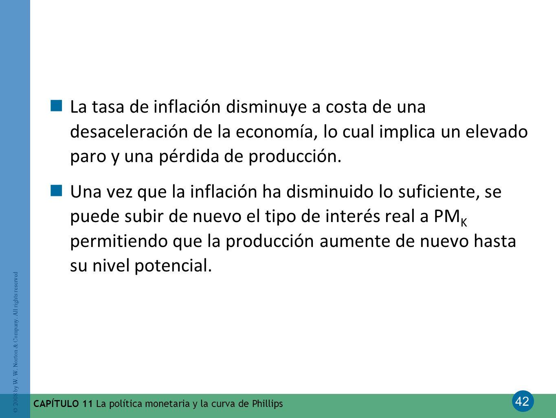 La tasa de inflación disminuye a costa de una desaceleración de la economía, lo cual implica un elevado paro y una pérdida de producción.