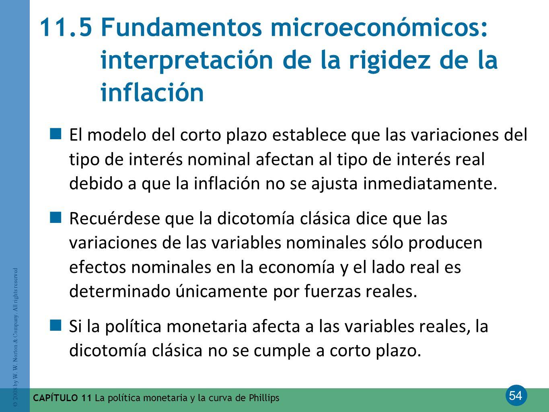 11.5 Fundamentos microeconómicos: interpretación de la rigidez de la inflación