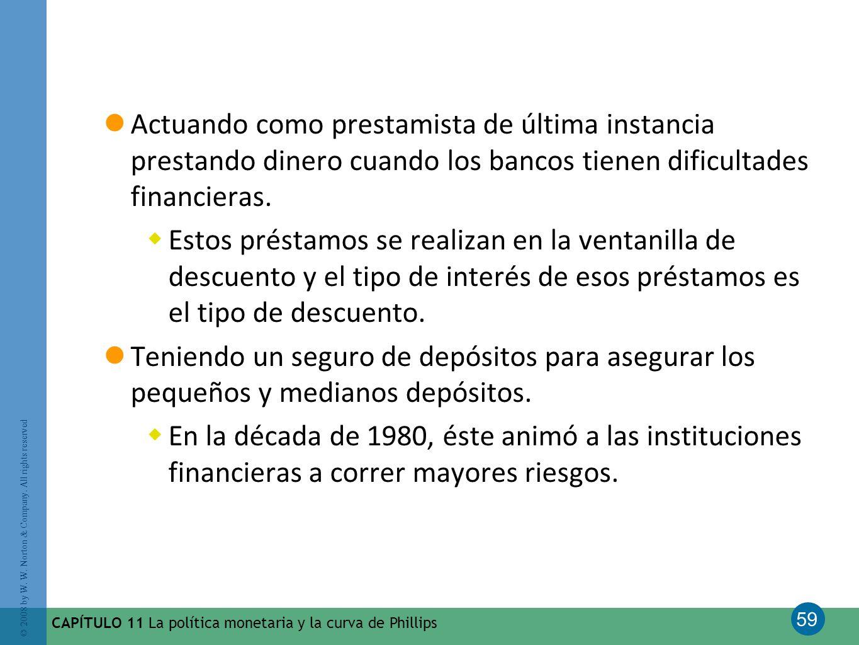 Actuando como prestamista de última instancia prestando dinero cuando los bancos tienen dificultades financieras.