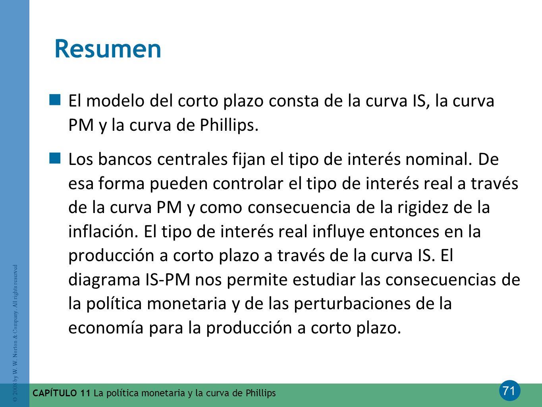 Resumen El modelo del corto plazo consta de la curva IS, la curva PM y la curva de Phillips.