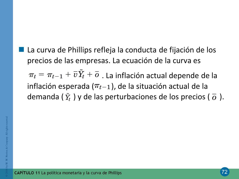 La curva de Phillips refleja la conducta de fijación de los precios de las empresas. La ecuación de la curva es