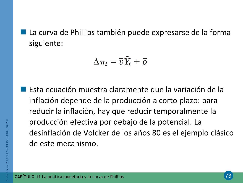 La curva de Phillips también puede expresarse de la forma siguiente: