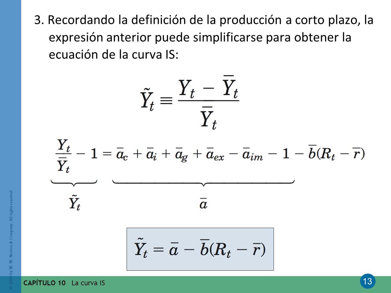 3. Recordando la definición de la producción a corto plazo, la expresión anterior puede simplificarse para obtener la ecuación de la curva IS: