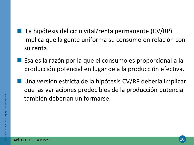 La hipótesis del ciclo vital/renta permanente (CV/RP) implica que la gente uniforma su consumo en relación con su renta.