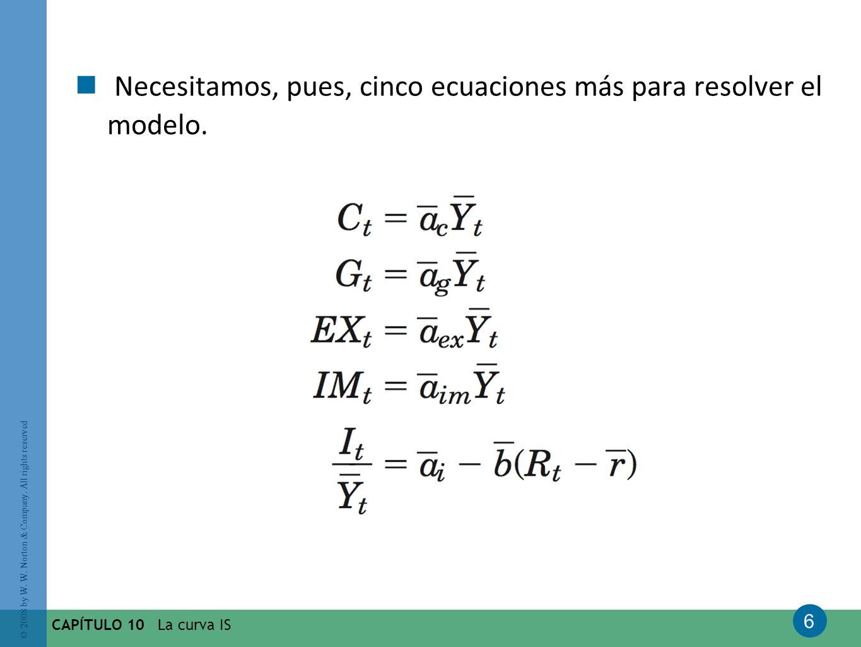 Necesitamos, pues, cinco ecuaciones más para resolver el modelo.