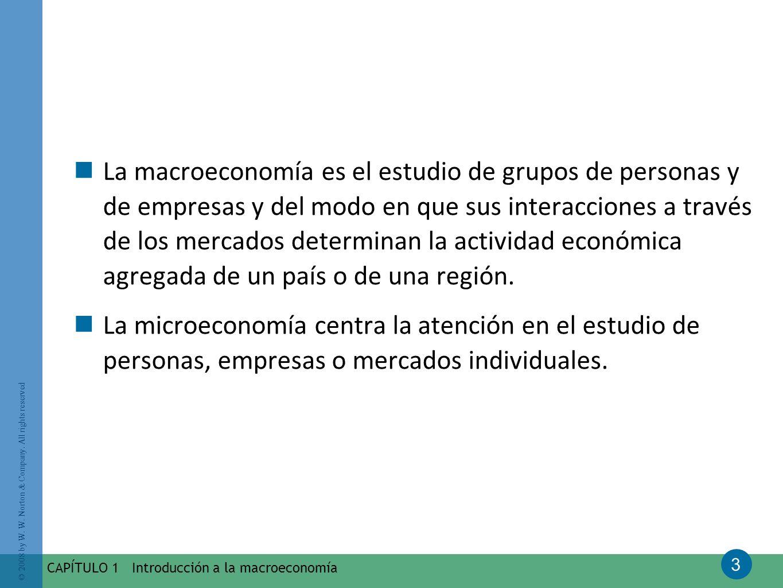 La macroeconomía es el estudio de grupos de personas y de empresas y del modo en que sus interacciones a través de los mercados determinan la actividad económica agregada de un país o de una región.