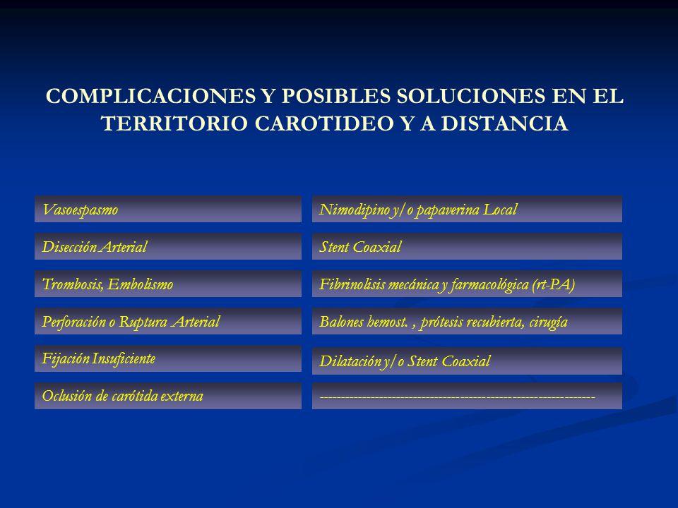 COMPLICACIONES Y POSIBLES SOLUCIONES EN EL TERRITORIO CAROTIDEO Y A DISTANCIA