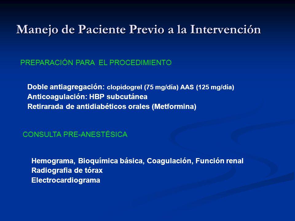 Manejo de Paciente Previo a la Intervención