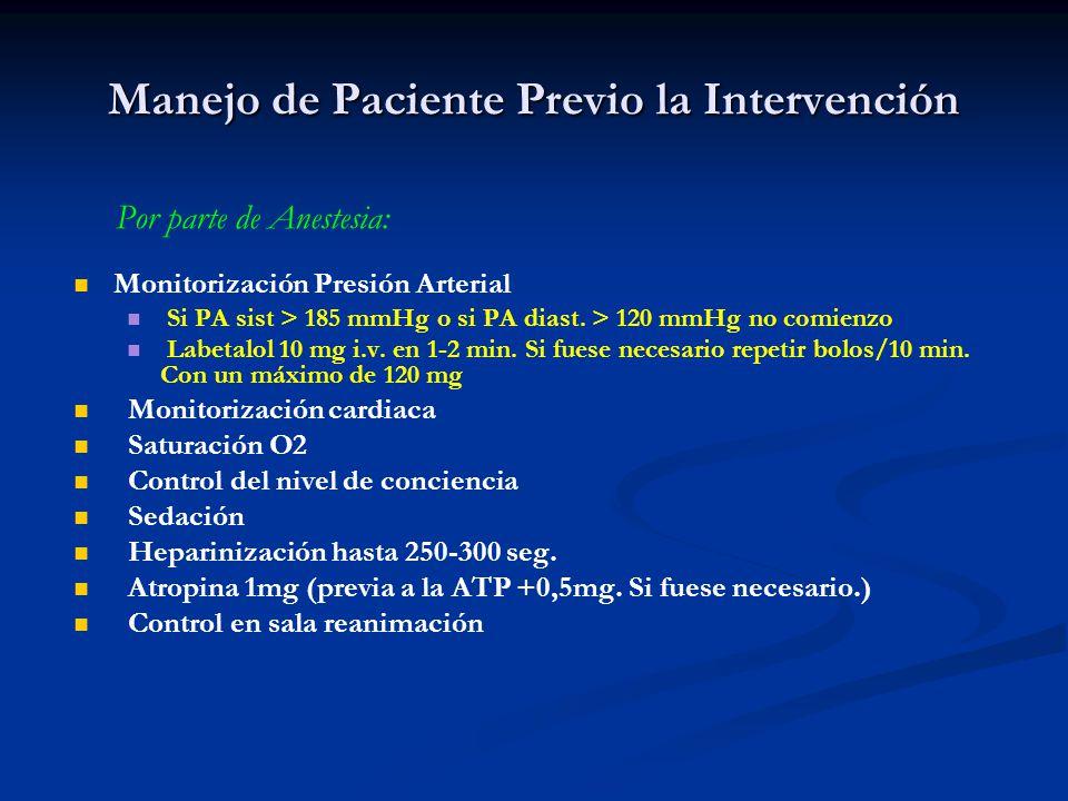 Manejo de Paciente Previo la Intervención