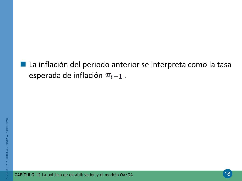La inflación del periodo anterior se interpreta como la tasa esperada de inflación .