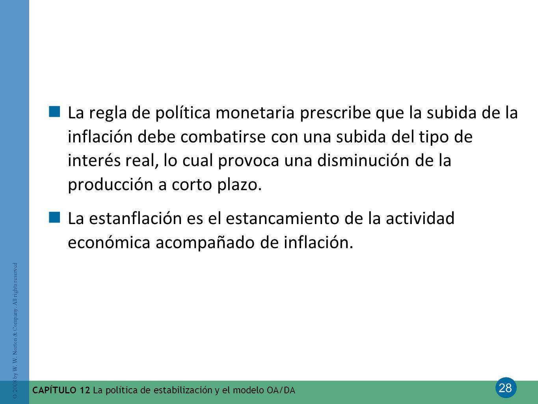 La regla de política monetaria prescribe que la subida de la inflación debe combatirse con una subida del tipo de interés real, lo cual provoca una disminución de la producción a corto plazo.