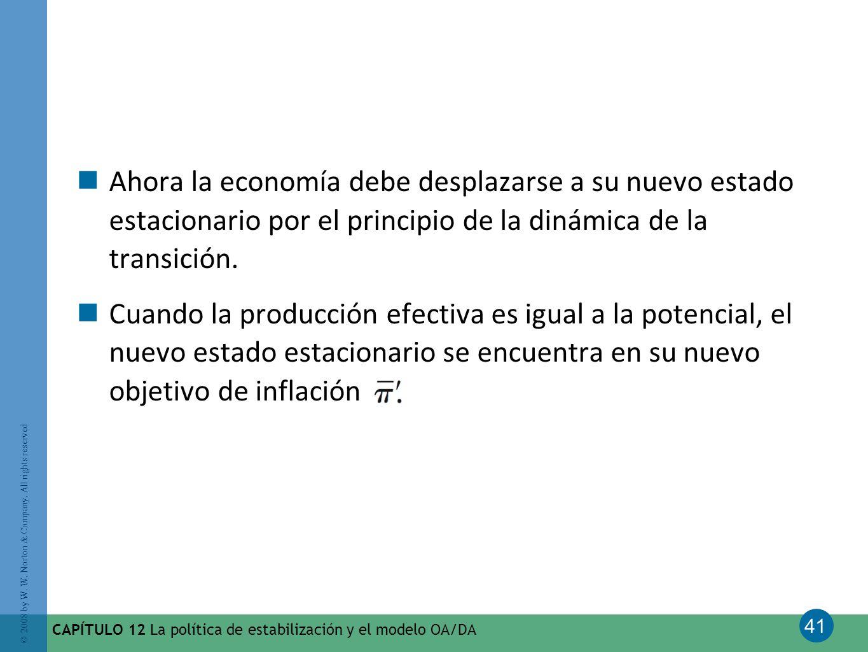 Ahora la economía debe desplazarse a su nuevo estado estacionario por el principio de la dinámica de la transición.