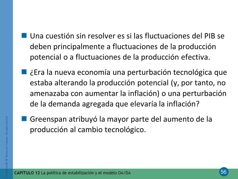 Una cuestión sin resolver es si las fluctuaciones del PIB se deben principalmente a fluctuaciones de la producción potencial o a fluctuaciones de la producción efectiva.