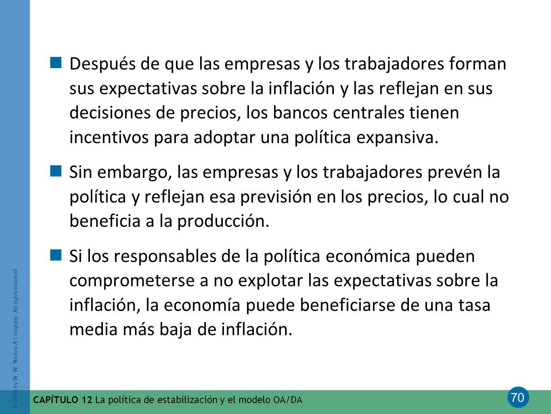 Después de que las empresas y los trabajadores forman sus expectativas sobre la inflación y las reflejan en sus decisiones de precios, los bancos centrales tienen incentivos para adoptar una política expansiva.