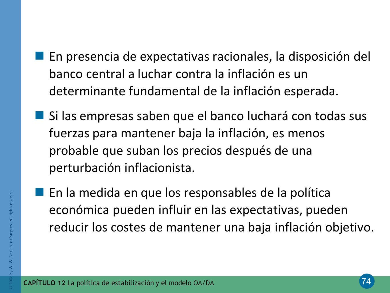 En presencia de expectativas racionales, la disposición del banco central a luchar contra la inflación es un determinante fundamental de la inflación esperada.