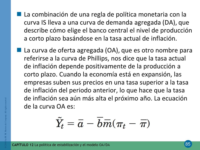 La combinación de una regla de política monetaria con la curva IS lleva a una curva de demanda agregada (DA), que describe cómo elige el banco central el nivel de producción a corto plazo basándose en la tasa actual de inflación.