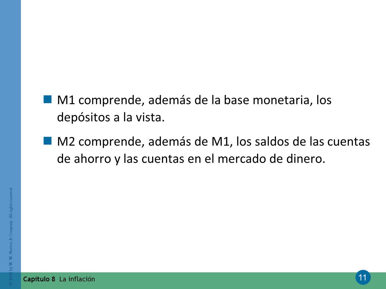 M1 comprende, además de la base monetaria, los depósitos a la vista.