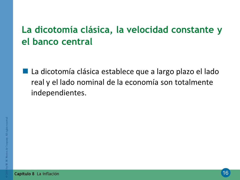 La dicotomía clásica, la velocidad constante y el banco central