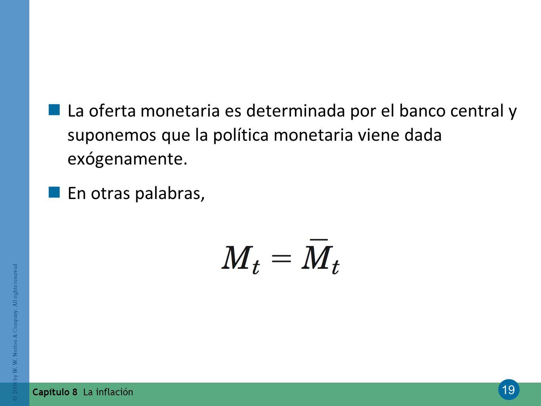 La oferta monetaria es determinada por el banco central y suponemos que la política monetaria viene dada exógenamente.