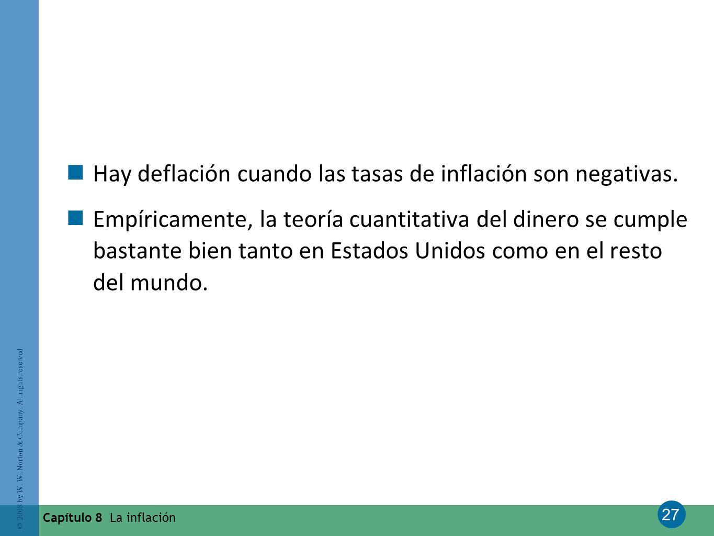Hay deflación cuando las tasas de inflación son negativas.