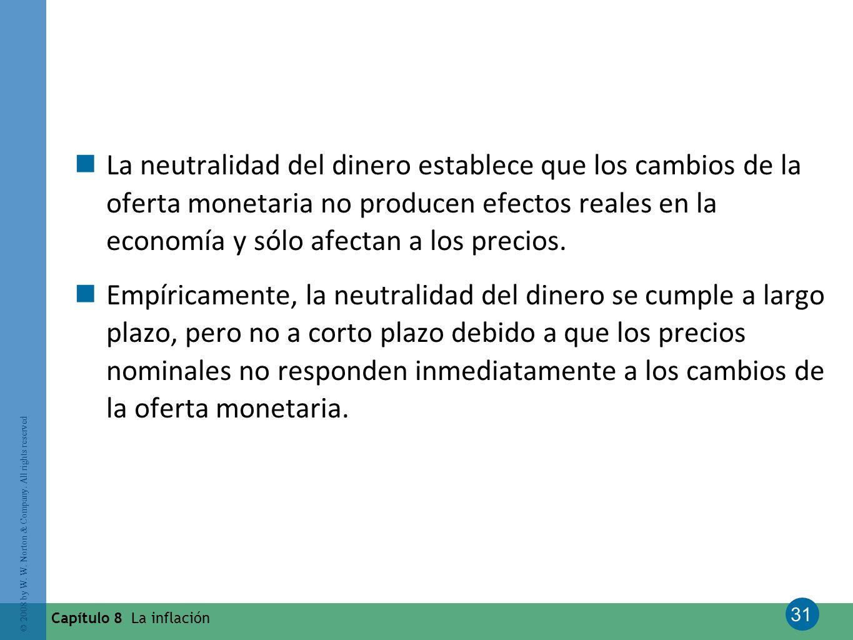 La neutralidad del dinero establece que los cambios de la oferta monetaria no producen efectos reales en la economía y sólo afectan a los precios.