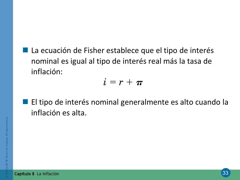 La ecuación de Fisher establece que el tipo de interés nominal es igual al tipo de interés real más la tasa de inflación: