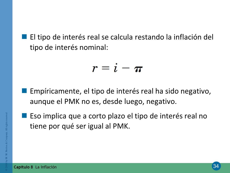 El tipo de interés real se calcula restando la inflación del tipo de interés nominal: