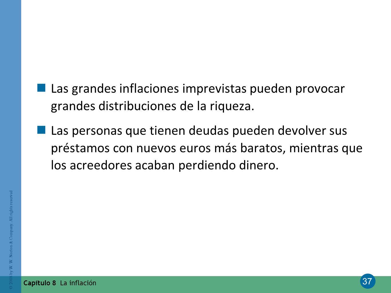 Las grandes inflaciones imprevistas pueden provocar grandes distribuciones de la riqueza.