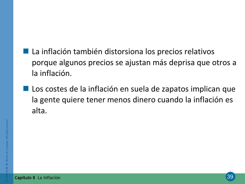 La inflación también distorsiona los precios relativos porque algunos precios se ajustan más deprisa que otros a la inflación.