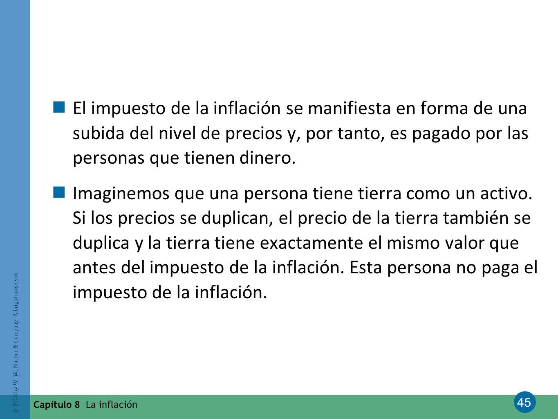El impuesto de la inflación se manifiesta en forma de una subida del nivel de precios y, por tanto, es pagado por las personas que tienen dinero.