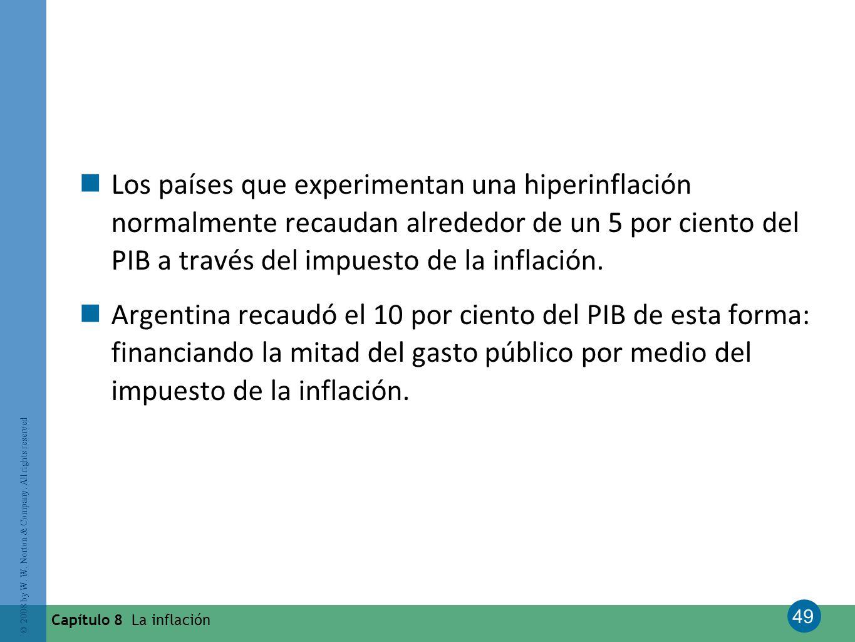 Los países que experimentan una hiperinflación normalmente recaudan alrededor de un 5 por ciento del PIB a través del impuesto de la inflación.