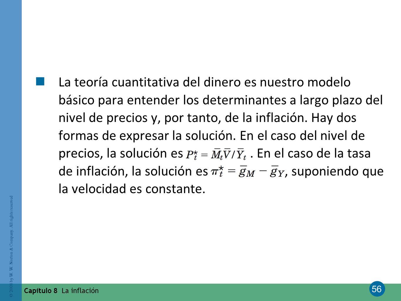 La teoría cuantitativa del dinero es nuestro modelo básico para entender los determinantes a largo plazo del nivel de precios y, por tanto, de la inflación. Hay dos formas de expresar la solución. En el caso del nivel de precios, la solución es . En el caso de la tasa de inflación, la solución es , suponiendo que la velocidad es constante.