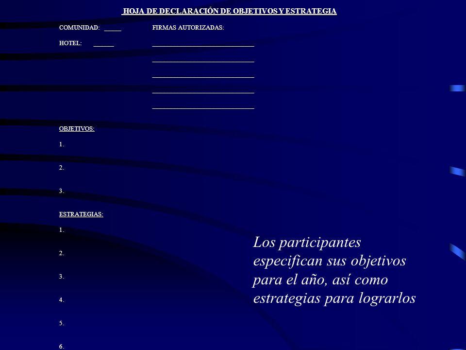 HOJA DE DECLARACIÓN DE OBJETIVOS Y ESTRATEGIA