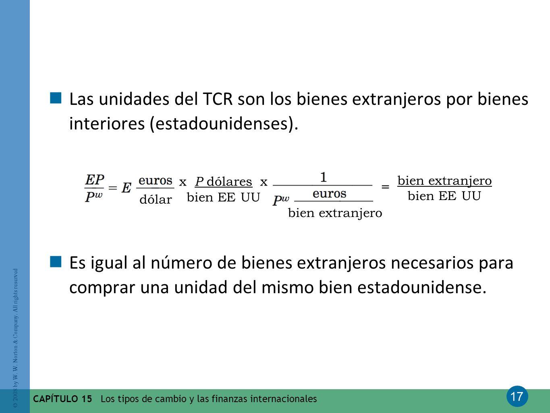 Las unidades del TCR son los bienes extranjeros por bienes interiores (estadounidenses).