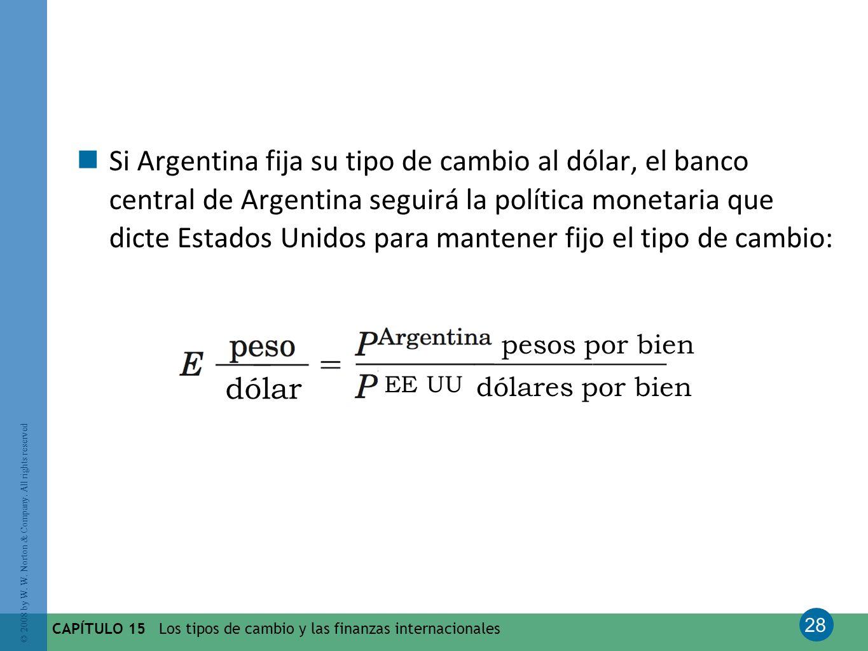 Si Argentina fija su tipo de cambio al dólar, el banco central de Argentina seguirá la política monetaria que dicte Estados Unidos para mantener fijo el tipo de cambio: