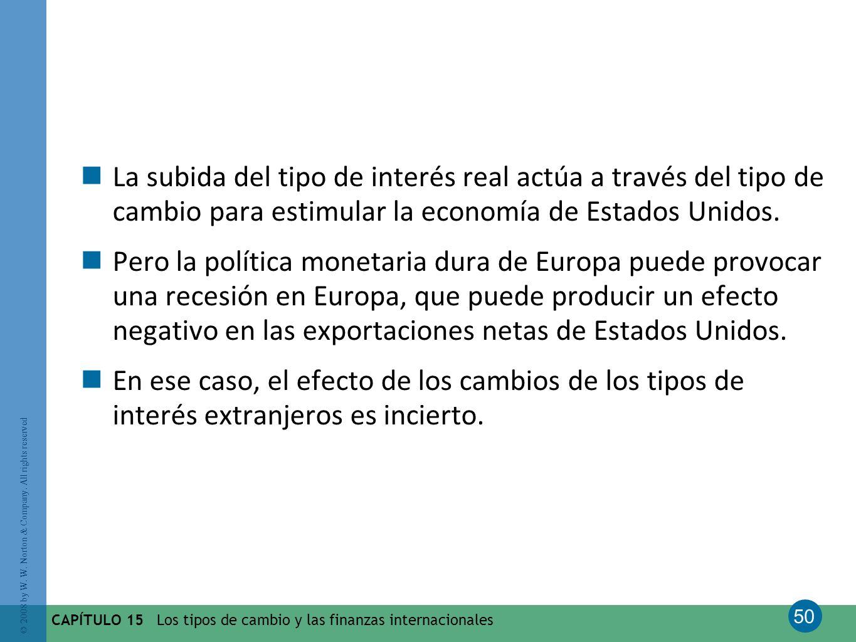 La subida del tipo de interés real actúa a través del tipo de cambio para estimular la economía de Estados Unidos.