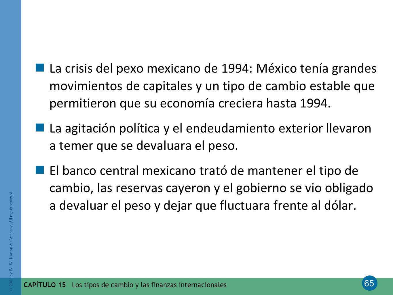 La crisis del pexo mexicano de 1994: México tenía grandes movimientos de capitales y un tipo de cambio estable que permitieron que su economía creciera hasta 1994.