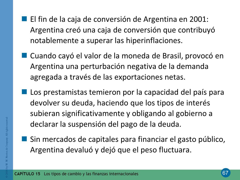 El fin de la caja de conversión de Argentina en 2001: Argentina creó una caja de conversión que contribuyó notablemente a superar las hiperinflaciones.