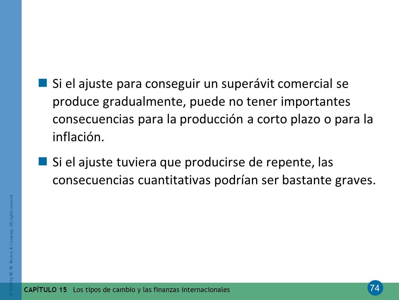 Si el ajuste para conseguir un superávit comercial se produce gradualmente, puede no tener importantes consecuencias para la producción a corto plazo o para la inflación.