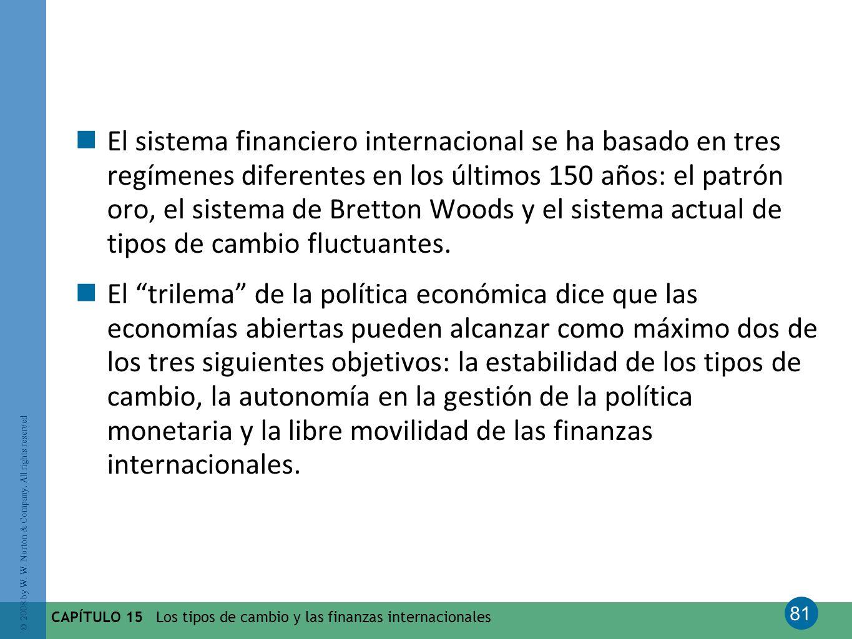 El sistema financiero internacional se ha basado en tres regímenes diferentes en los últimos 150 años: el patrón oro, el sistema de Bretton Woods y el sistema actual de tipos de cambio fluctuantes.