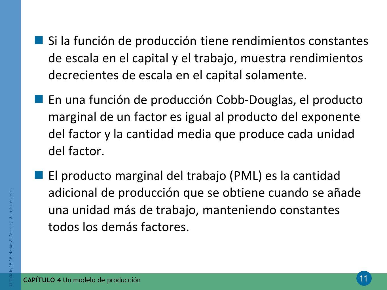 Si la función de producción tiene rendimientos constantes de escala en el capital y el trabajo, muestra rendimientos decrecientes de escala en el capital solamente.