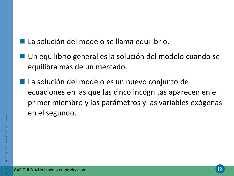 La solución del modelo se llama equilibrio.