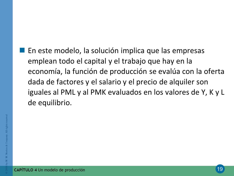 En este modelo, la solución implica que las empresas emplean todo el capital y el trabajo que hay en la economía, la función de producción se evalúa con la oferta dada de factores y el salario y el precio de alquiler son iguales al PML y al PMK evaluados en los valores de Y, K y L de equilibrio.