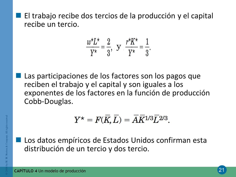 El trabajo recibe dos tercios de la producción y el capital recibe un tercio.