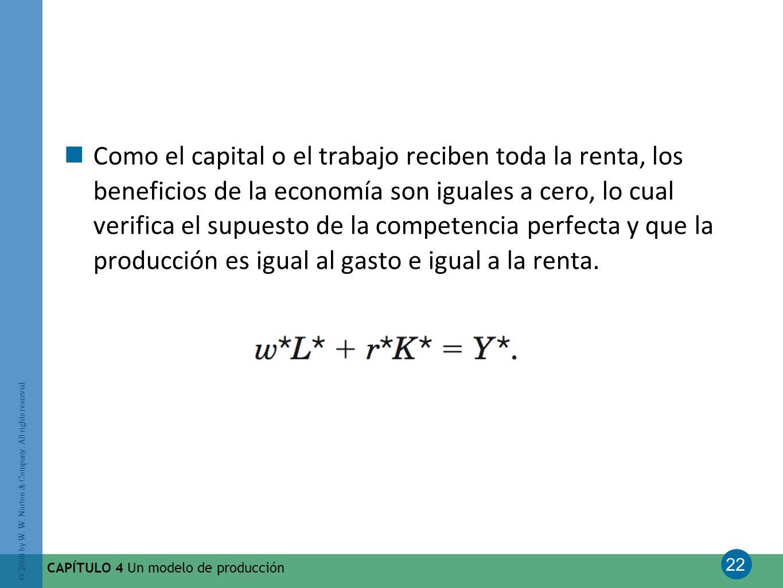 Como el capital o el trabajo reciben toda la renta, los beneficios de la economía son iguales a cero, lo cual verifica el supuesto de la competencia perfecta y que la producción es igual al gasto e igual a la renta.