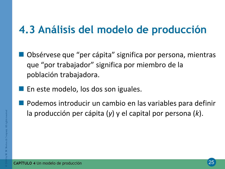 4.3 Análisis del modelo de producción