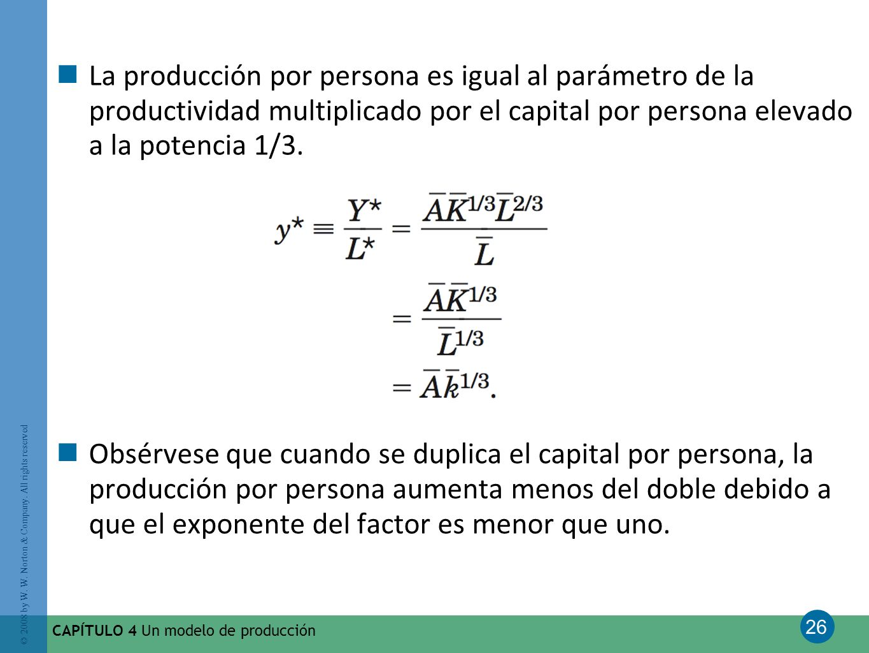 La producción por persona es igual al parámetro de la productividad multiplicado por el capital por persona elevado a la potencia 1/3.