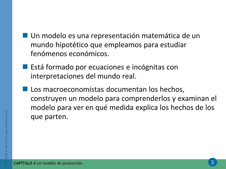 Un modelo es una representación matemática de un mundo hipotético que empleamos para estudiar fenómenos económicos.