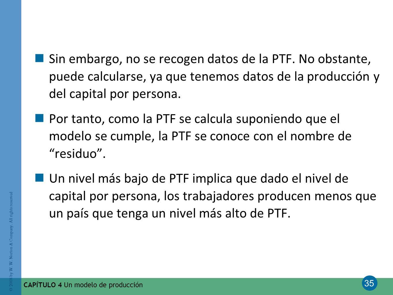 Sin embargo, no se recogen datos de la PTF